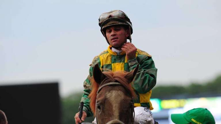 Jockey John Velazquez after winning the 144th Belmont