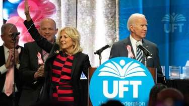 Jill and Joe Biden address members of the