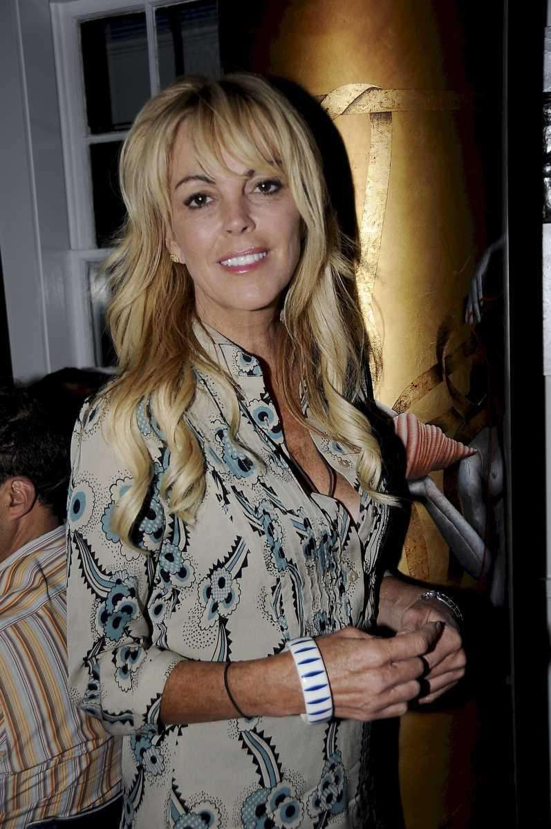 Dina Lohan at Nammos Estiatorio in Southampton, having