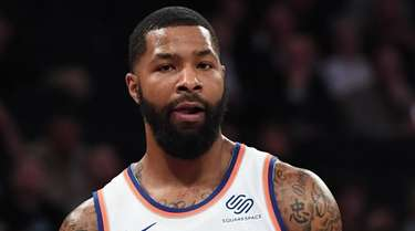 Knicks forward Marcus Morris looks on against the