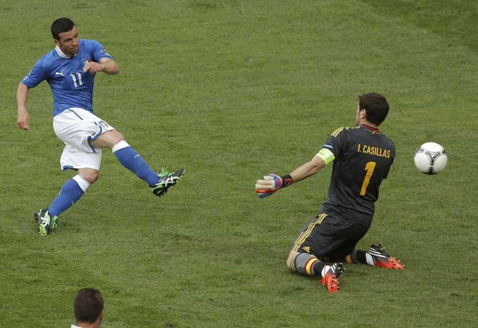 Italy's Antonio Di Natale, left, scores the opening
