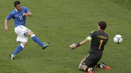 Italy's Antonio Di Natale, left, scores the opening