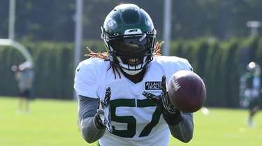 Jets linebacker C.J. Mosley, shown here in training