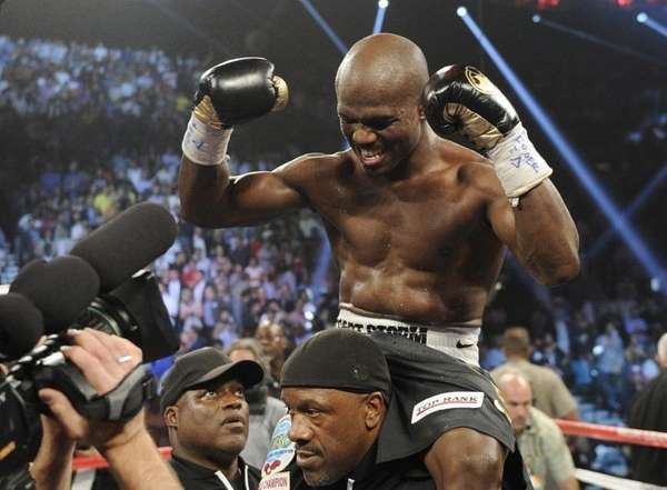 Timothy Bradley, from Palm Springs, Calif., reacts to