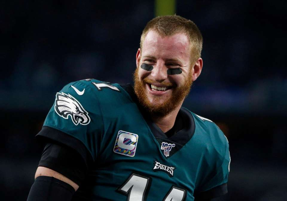 Philadelphia Eagles quarterback Carson Wentz smiles as he
