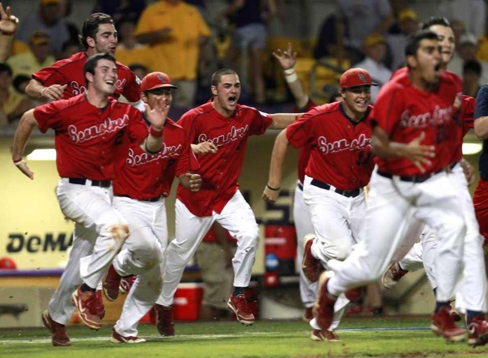 Stony Brook celebrates after defeating LSU 7-2 in