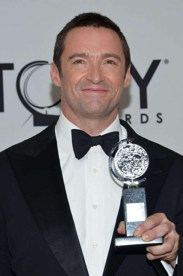 Actor Hugh Jackman with Tony Award in the