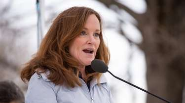 Rep. Kathleen Rice at Village Green Park in