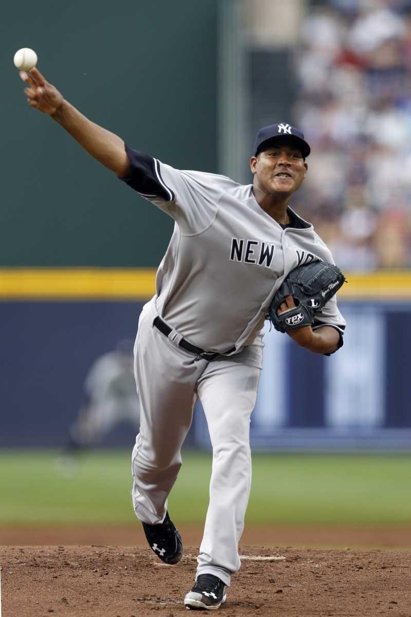 New York Yankees starting pitcher Ivan Nova works