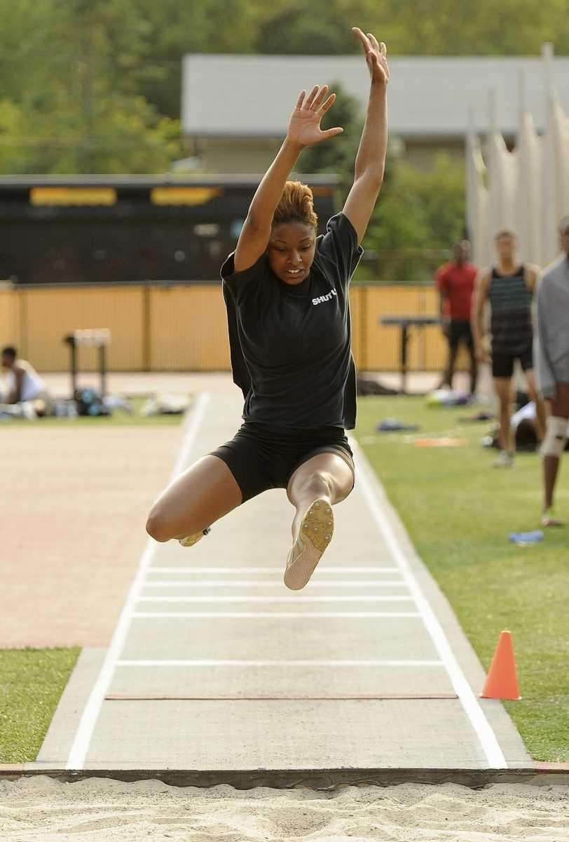 Imani McGhee of Bay Shore competes in the