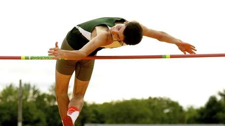 Michael Rufrano (Chaminade) competes in the high jump