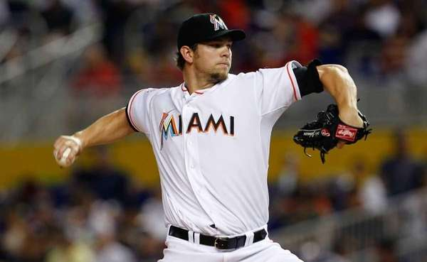 Josh Johnson #55 of the Miami Marlins pitches