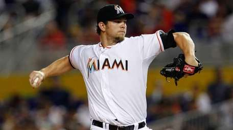 Josh Johnson #55 of the Miami Marlins pitches