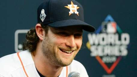 Houston Astros starting pitcher Gerrit Cole speaks during