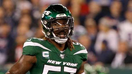 C.J. Mosley #57 of the Jets looks on