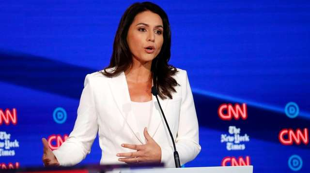 Democratic presidential candidate Rep. Tulsi Gabbard, D-Hawaii, participates