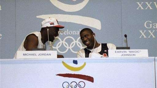 Michael Jordan, left, and Earvin