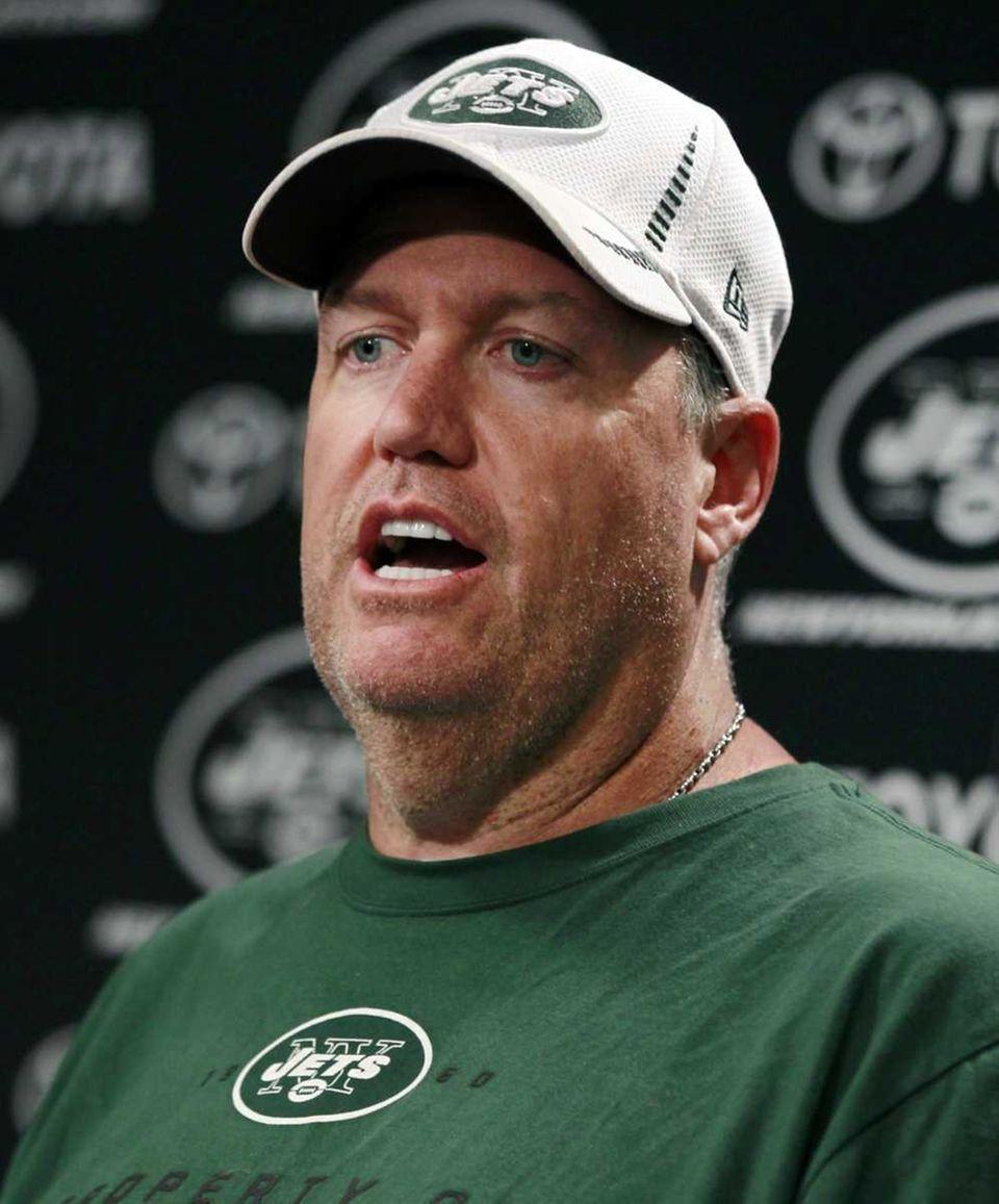 Head coach Rex Ryan answers a question before