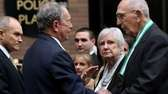 Mayor Michael Bloomberg shakes hands with Frank Figoski,