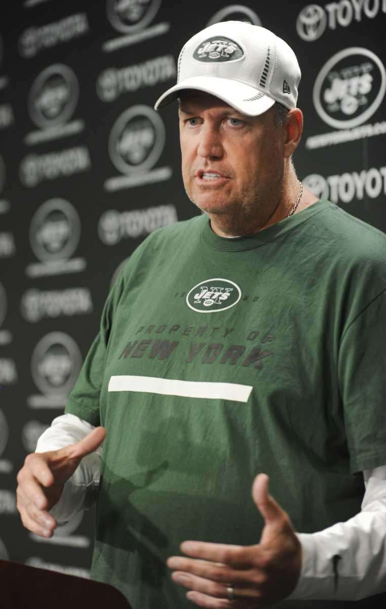 Jets head coach Rex Ryan speaks to the