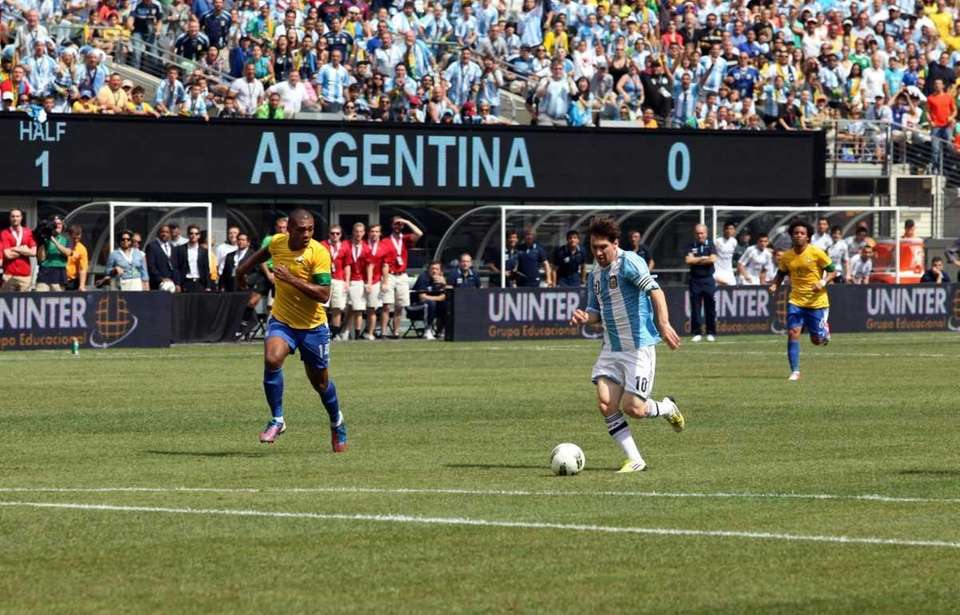 Argentina's Lionel Messi advances to the goal en