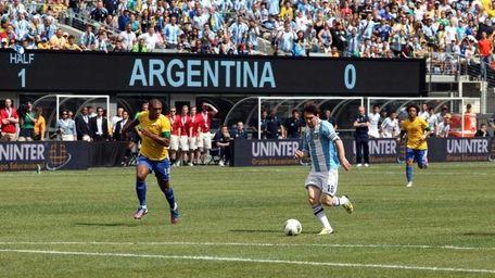 Argentina's Lionel Messi advances to the goal en