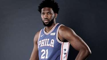 Joel Embiid of the Philadelphia 76ers poses for