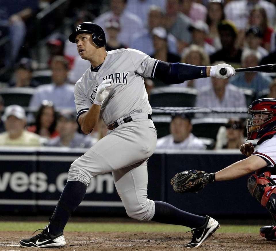 Alex Rodriguez watches his grand slam in the
