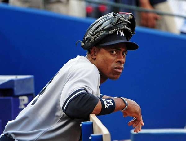 Curtis Granderson relaxes before the game against the