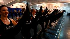 The Radio City Rockettes on Tuesday rehearsed the new finale