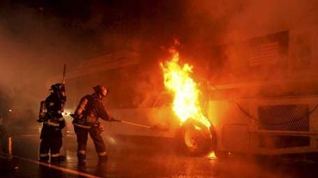 Plainview firefighters battled a fire on a bus