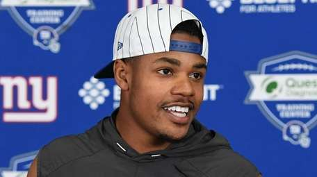 Giants wide receiver Sterling Shepard answers questions after