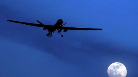 An unmanned U.S. Predator drone flies over Kandahar