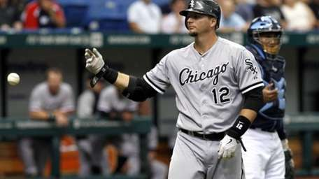 Chicago White Sox's A.J. Pierzynski throws the ball