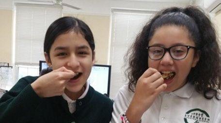 Kidsday reporters Basti Gonsalez, left, and Jaylie Polanco