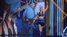 Sailor Brinkley-Cook and partner Val Chmerkovskiy dance the