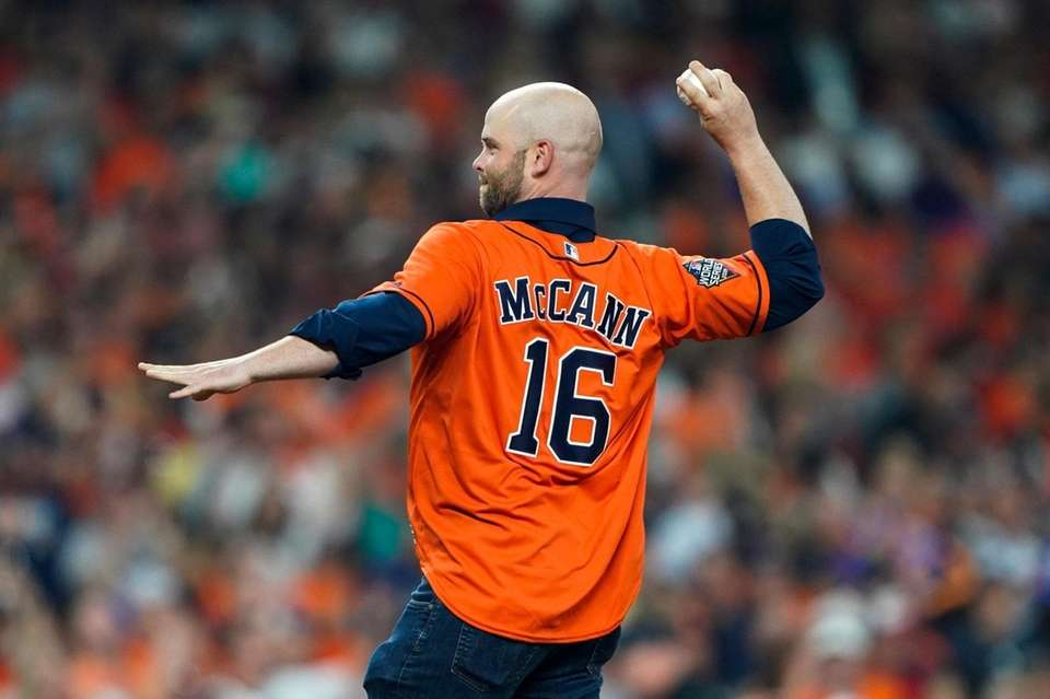 Brian McCann throws out a ceremonial first pitch