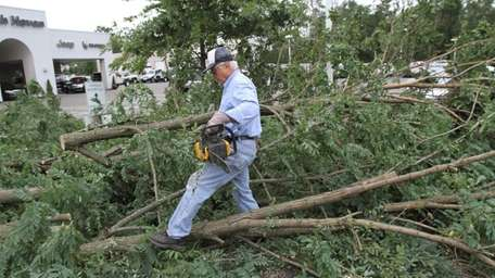 Tony Coiro holds a chain saw as helps