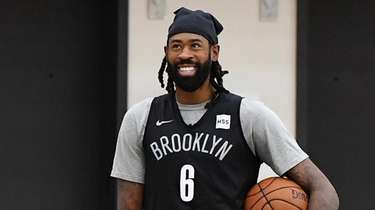 Brooklyn Nets center Deandre Jordan looks on during