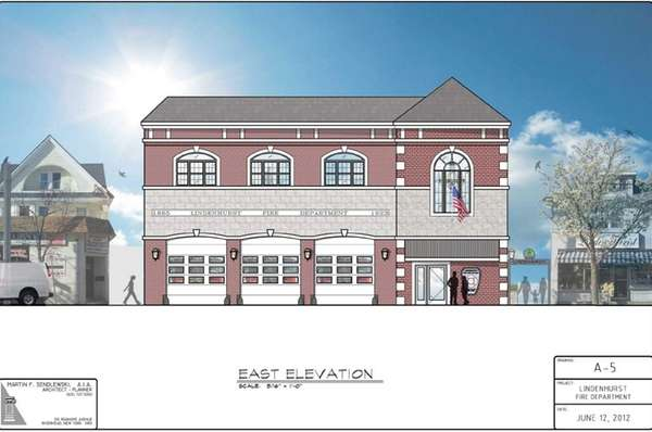 Rendering of new Lindenhurst Village firehouse on Wellwood