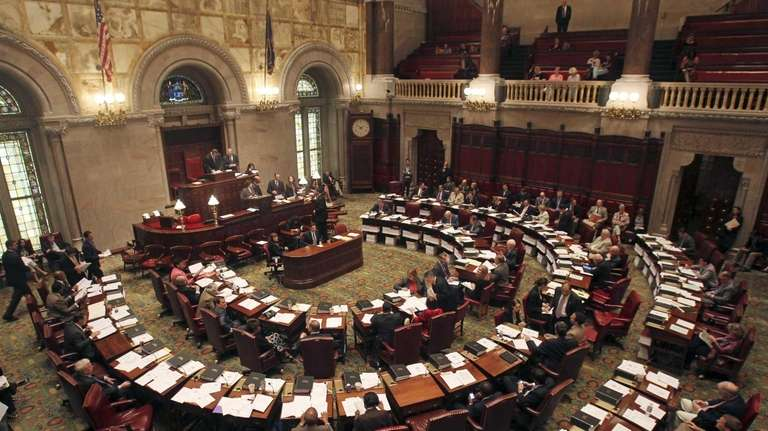 Members of the New York State Senate meet