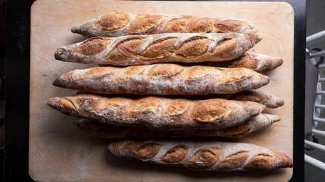 Freshly baked baguettes from Blacksmith Breads in Long