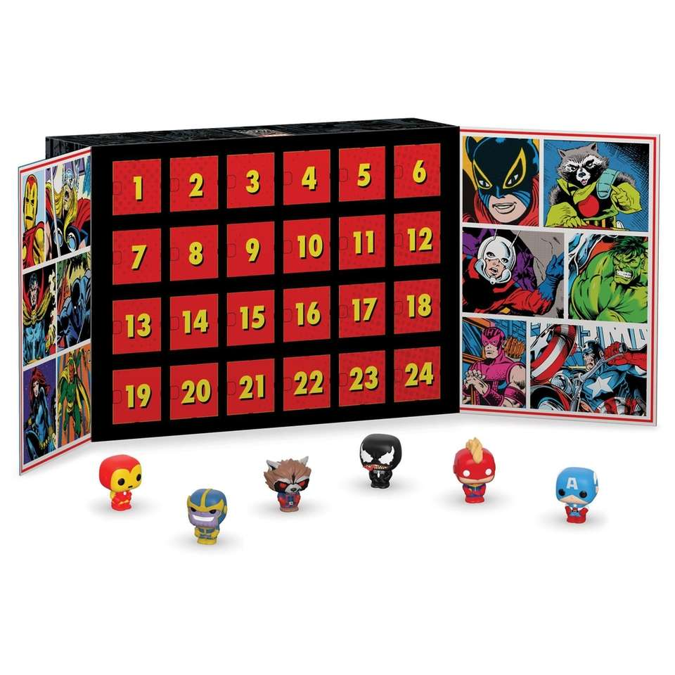 This Marvel-themed Advent calendar features Funko Pop mini