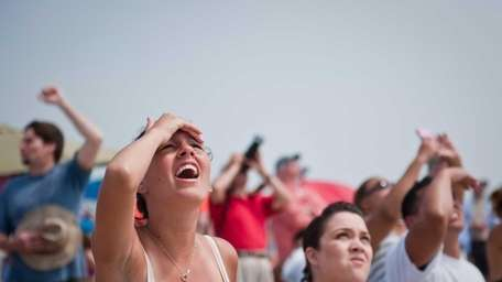 Jackie Ibarra, of Levittown, watches in awe as