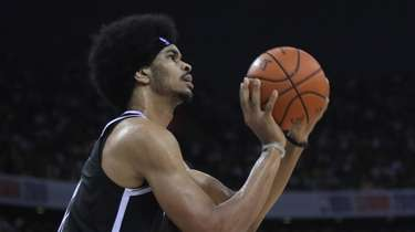 The Nets' Jarrett Allen in action during a