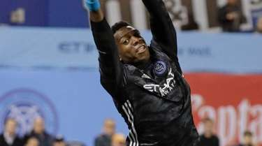 New York City FC goalkeeper Sean Johnson stops