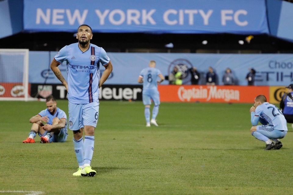 New York City FC's Alexander Callens, front left,
