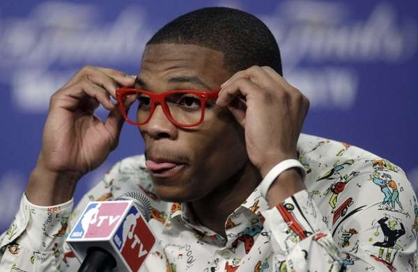 Oklahoma City Thunder point guard Russell Westbrook participates