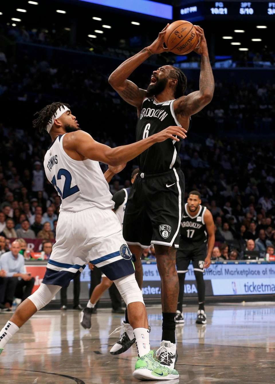 DeAndre Jordan #6 of the Brooklyn Nets controls