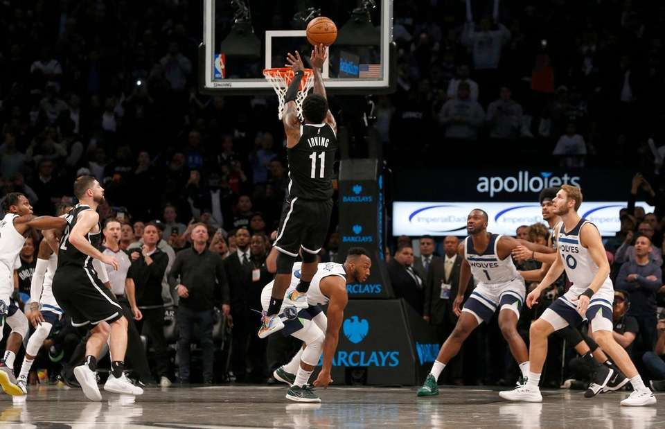 Kyrie Irving #11 of the Brooklyn Nets attempts